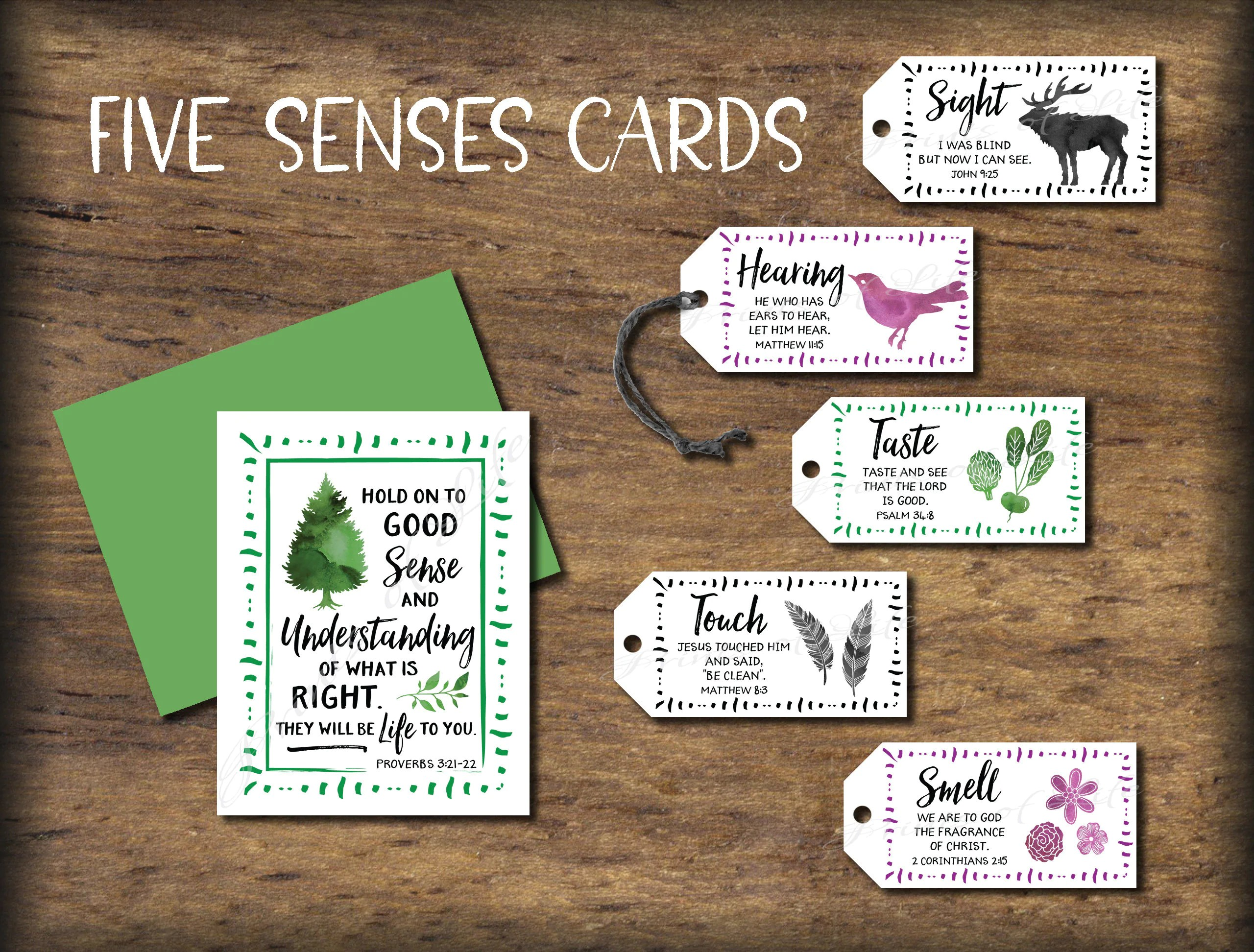 Five Senses Gift Tags Amp Card With Bible Verses Instant