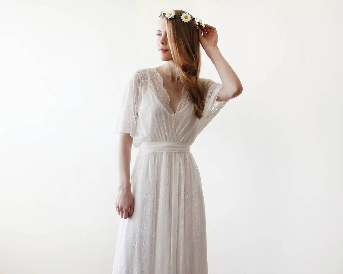 Floral Lace Maxi Sheer Gown 2 In 1 Wedding Dress Country