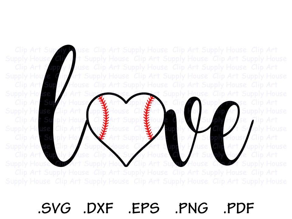 Download I Love Baseball Baseball Heart Baseball Love SVG Design
