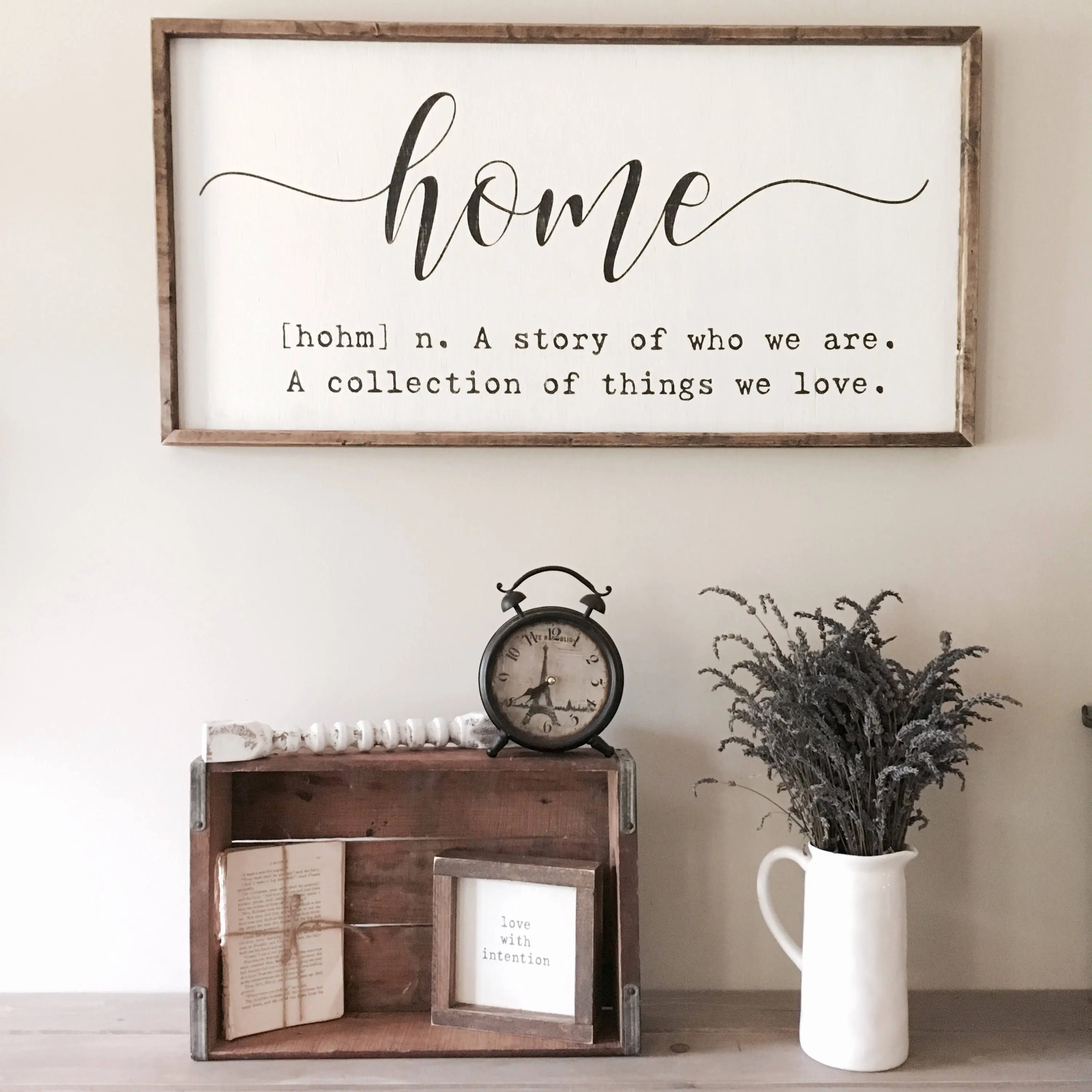 Home definition sign home quote sign home sign A story of on Home Wall Decor Signs id=74079