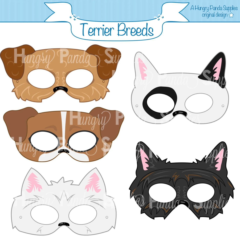 Terrier Dog Breed Printable Masks Terrier Mask Bull Terrier