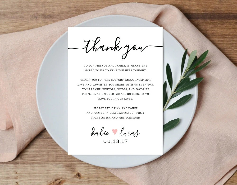 Thank You Place Setting Wedding Thank You Card Wedding Table