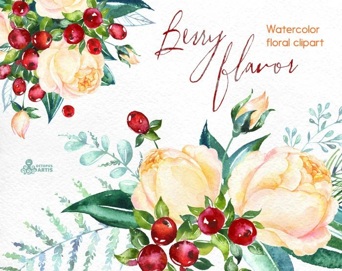 Berry Flavor Watercolor Bouquets And Wreath Hand Painted