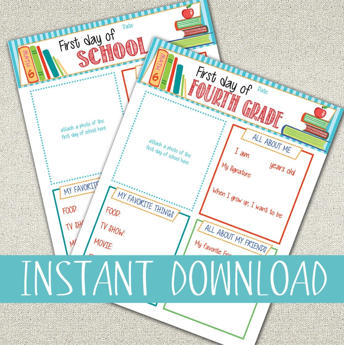 All About Me Questionnaire Printables First Day Of School