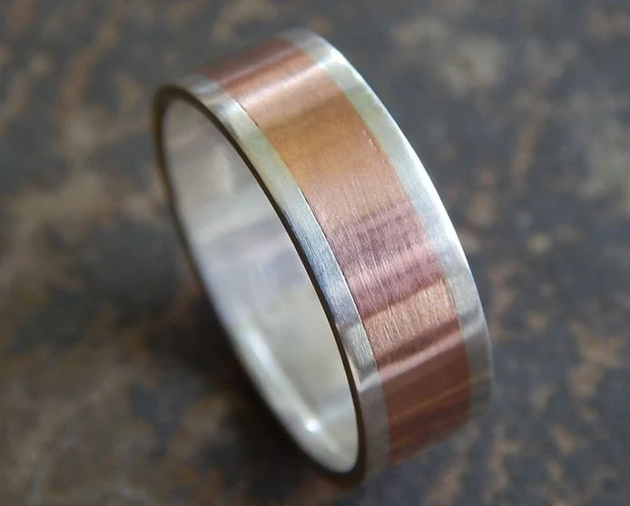RUSTIC Silver Amp Copper Mens Wedding Ring