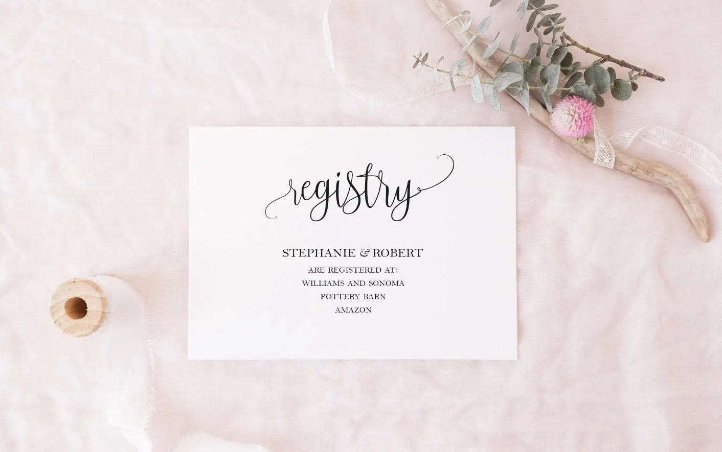 Black And White Registry Cards Template DIY Gift Registry Card