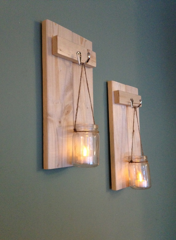 Mason Jar Sconce Rustic Wall Decor Wooden Candle Holder on Large Wall Sconces Candle Holders Decorative id=99564