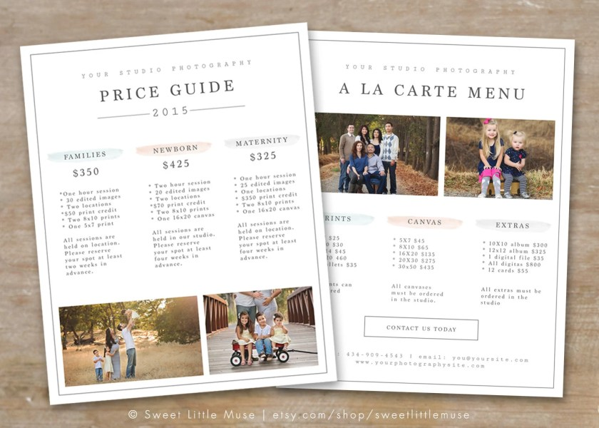 Photography Price List Template Photography Pricing Guide         zoom