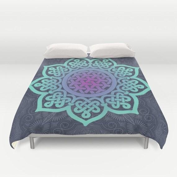 Blue Duvet Cover Full Queen King Mandala Duvet Teal Bed
