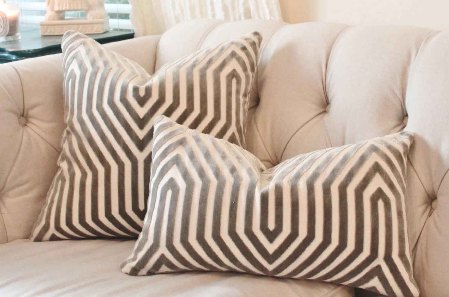 Designer Geometric Pillow Mary McDonald Gray Pillow Cover