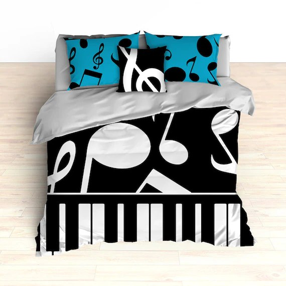 Piano and Music Note Bedding by 2CoolDesignsInc