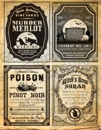 halloween drinks labels printable