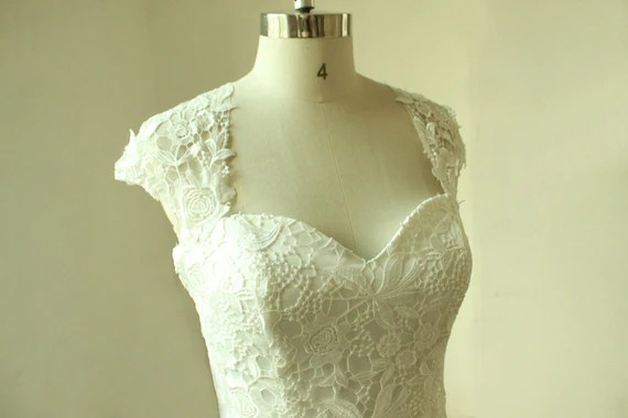 Vintage Fit And Flare Lace Wedding Dress With Keyhole Back And