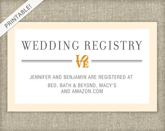 LOVE Bridal Shower Registry Card Customizable Colors