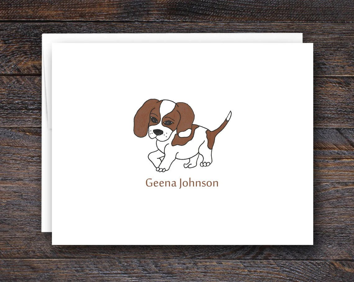 Custom Beagle Dog Note Ca...