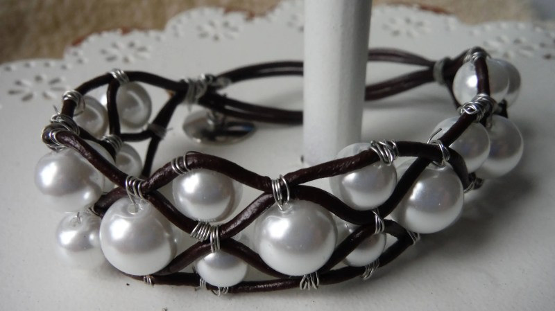 Glass Pearl and Leather B...