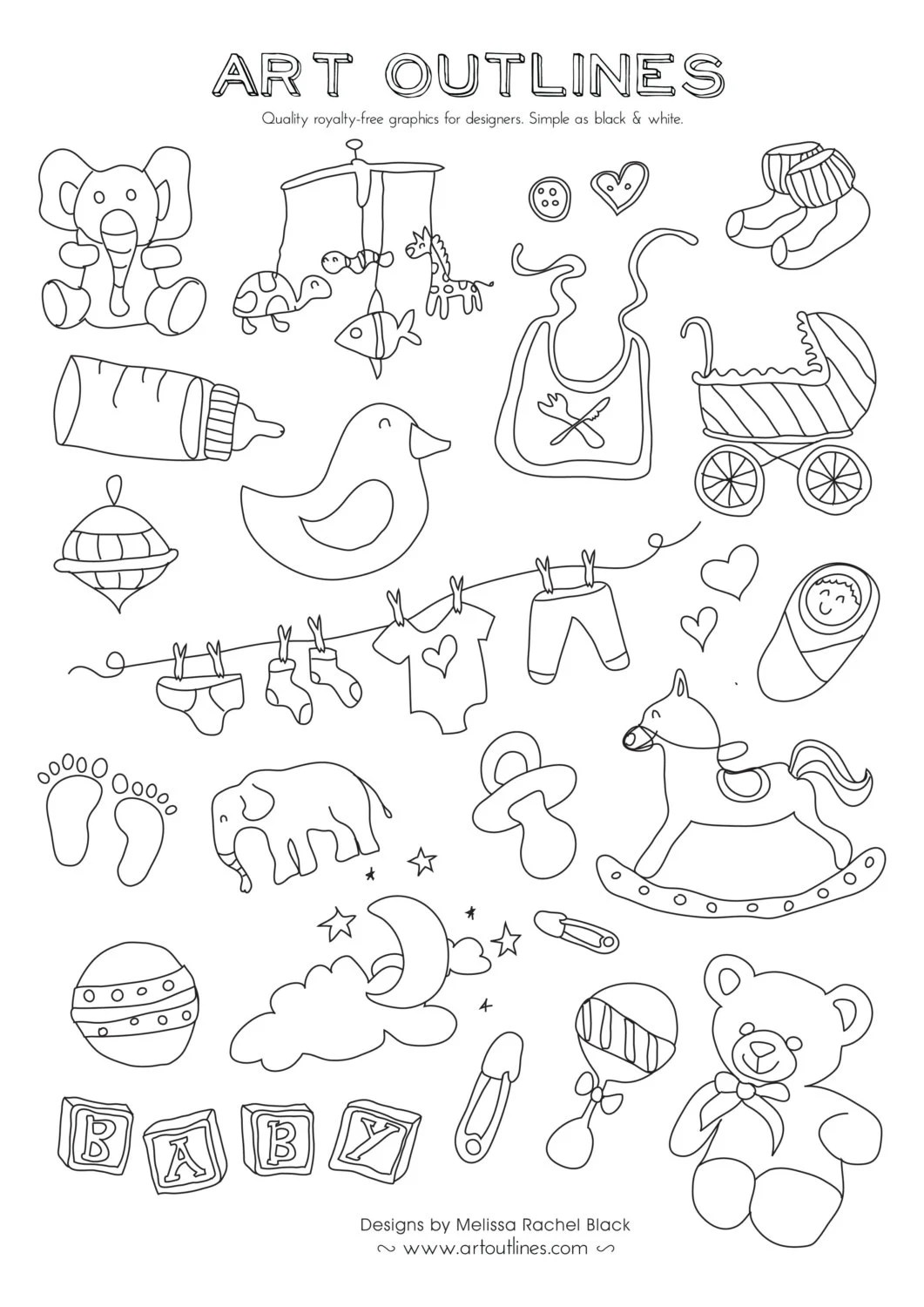 Set Of Baby Illustrations Art Outlines Full Page 32 Original