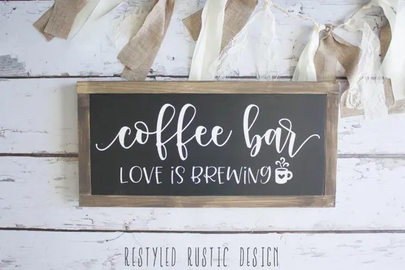 Download Coffee Bar Love is Brewing Framed Sign Coffee Bar Sign Love