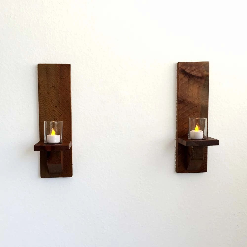 Items similar to Rustic Wood Wall Sconces, Candle Sconces ... on Wood Wall Sconces id=84056