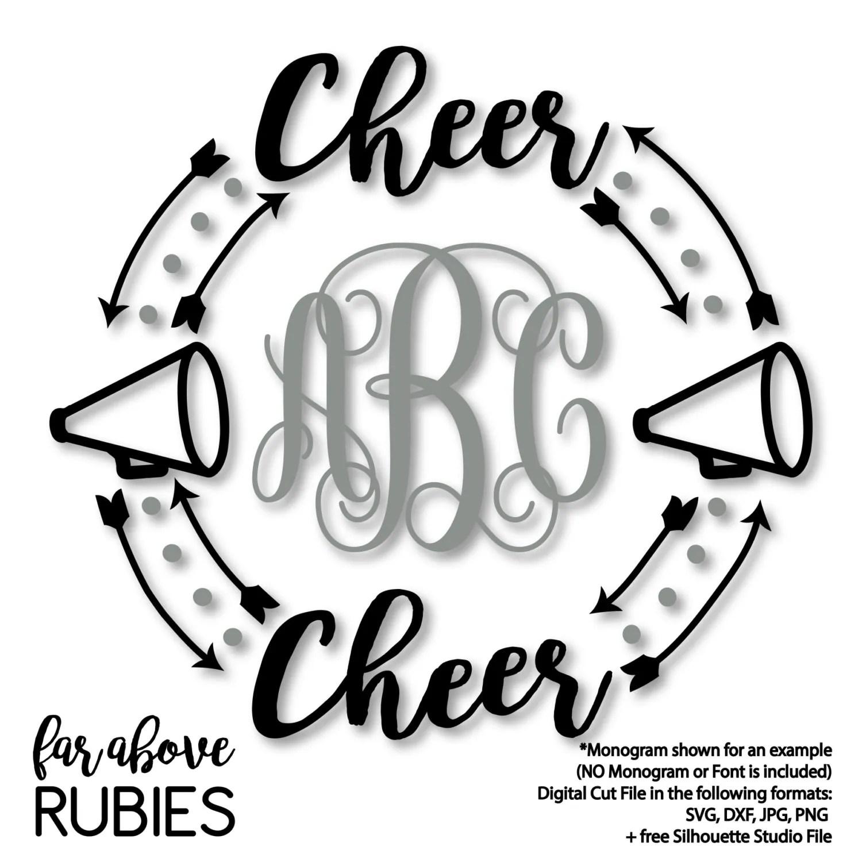 Cheerleader Cheer Megaphone Monogram Wreath Arrows Monogram
