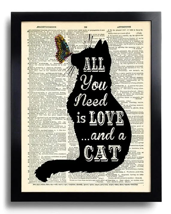 Download All you need is LOVE and a CAT Quotes Dictionary Art Print