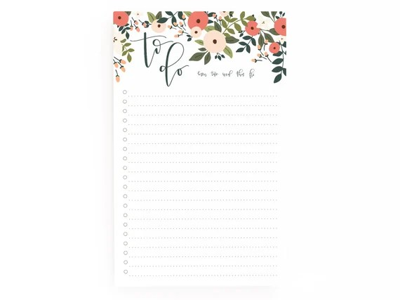 Floral To Do Notepad Shipped
