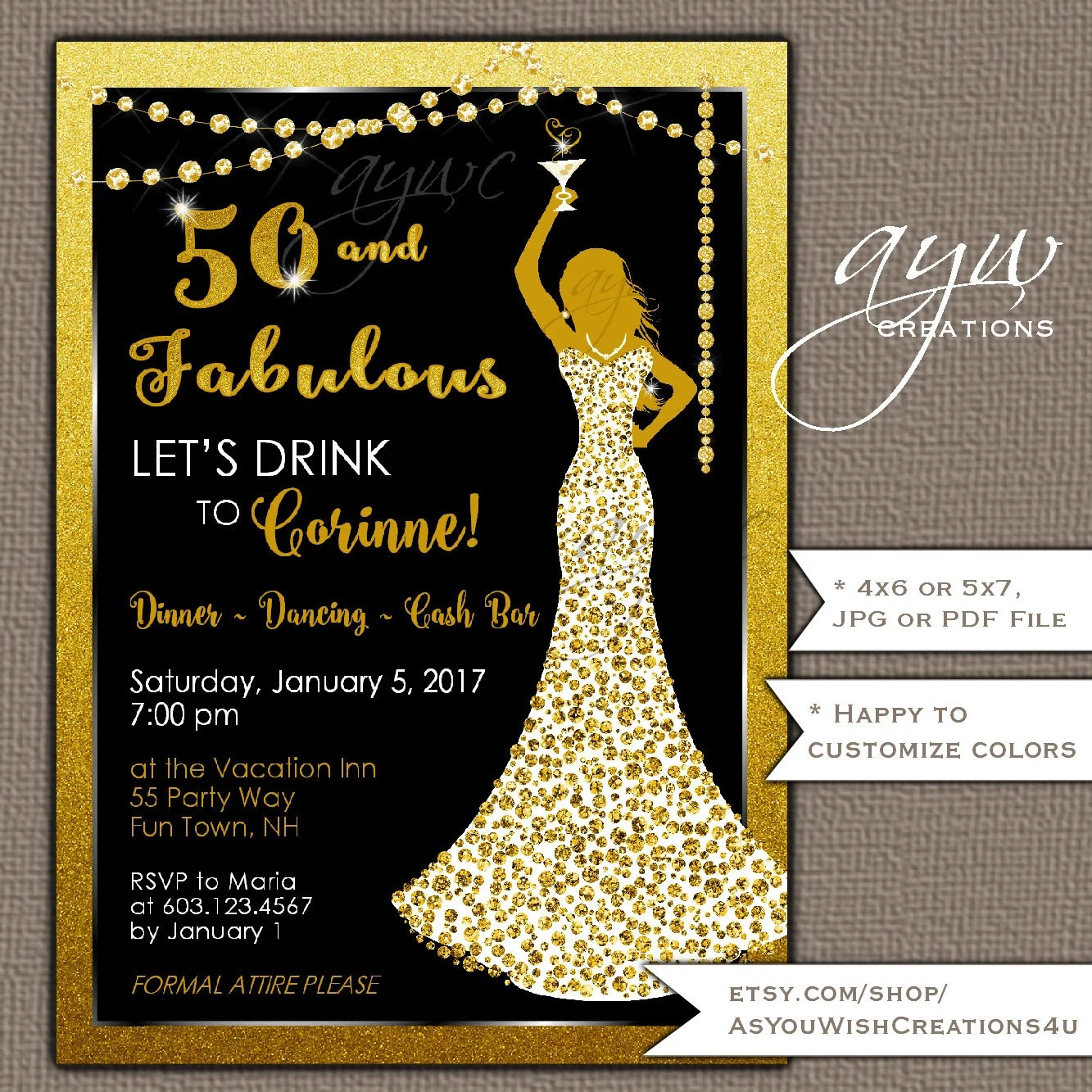 50th Birthday Party Invitations Woman Bling Dress 40th Womans