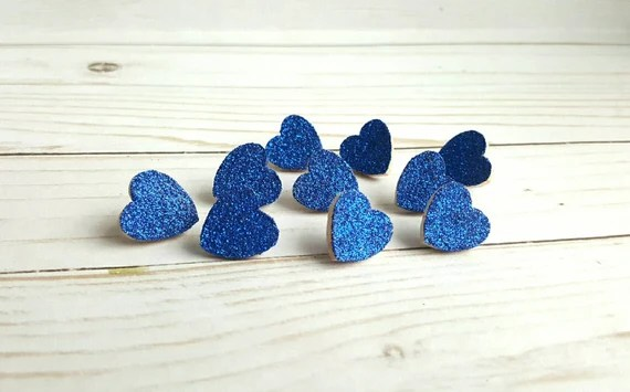 Blue Heart Push Pins