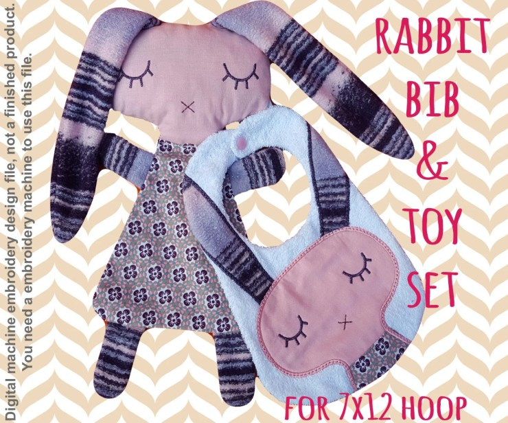 RABBIT bib and soft toy set - ITH embroidery design - 7x12 hoop - Machine Embroidery Design File, digital download
