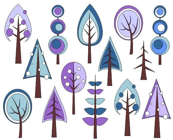 Retro Trees Clip Art Winter Trees Digital Clip Art Christmas