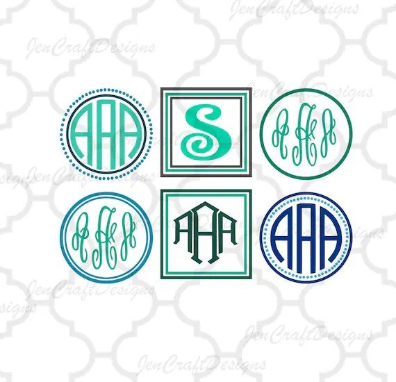 Download Monogram Frames svg instant download cut file SVG DXF Eps Png