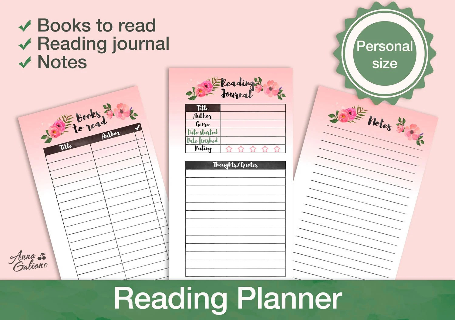 Reading Journal Printable Book Journal Reading log Reading