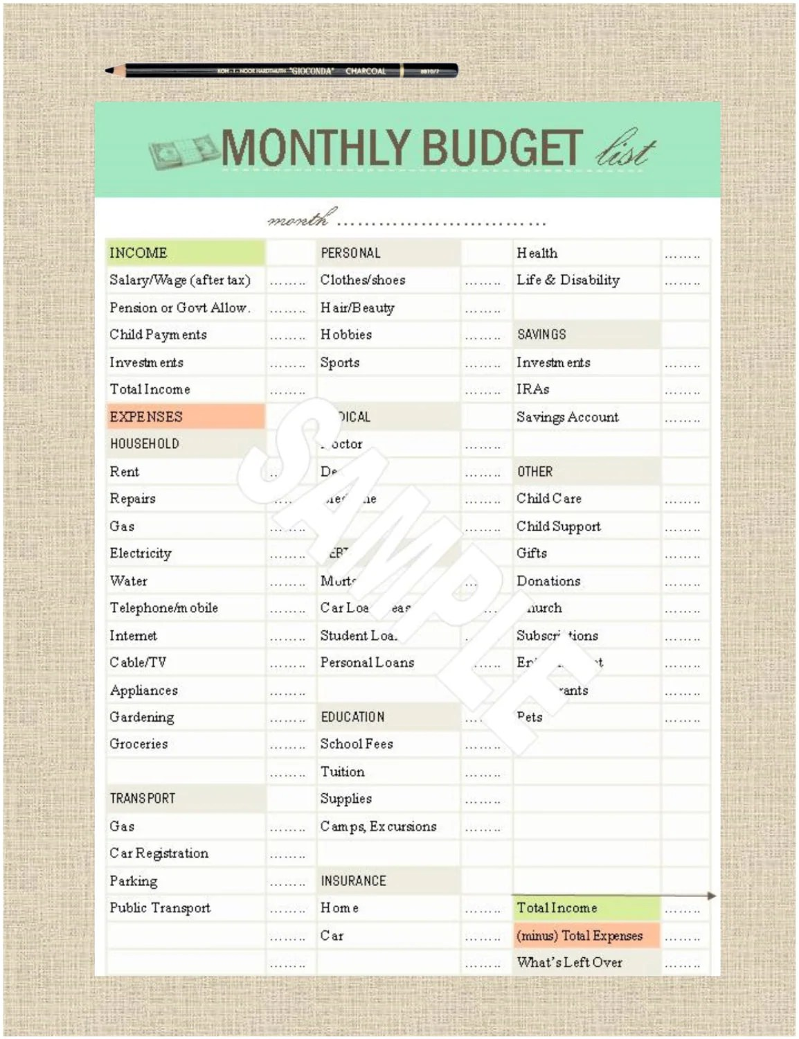 Life S Lists Printable A5 Monthly Budget List