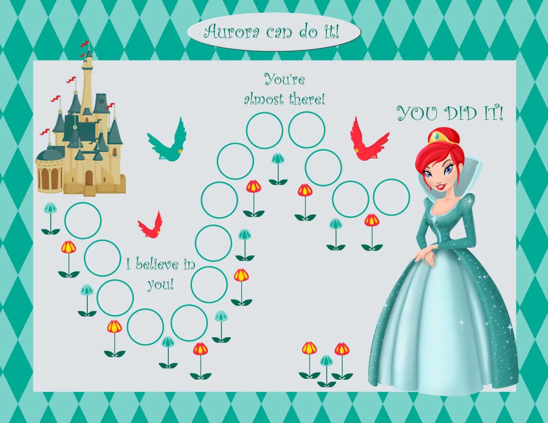 Printable Personalized Kids Incentive Chore Chart Princess