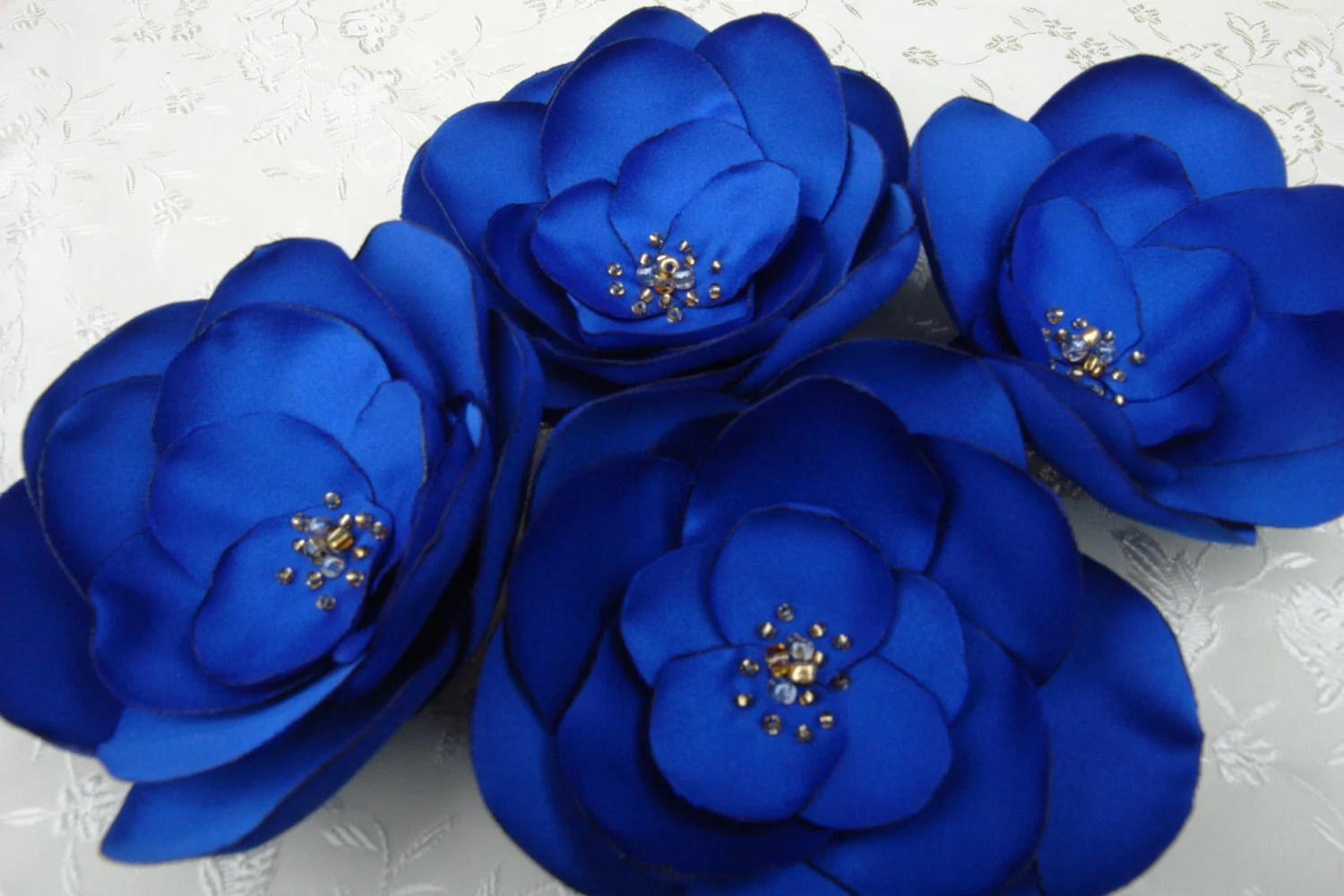 Royal Blue Flowers Fascinator Royal Blue Satin Fabric Flower