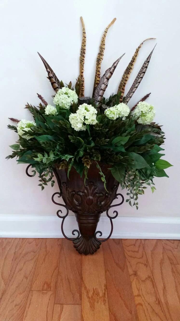 Wall Sconce Greenery Floral Arrangement Silk Flowers Ferns on Flower Wall Sconces id=97153