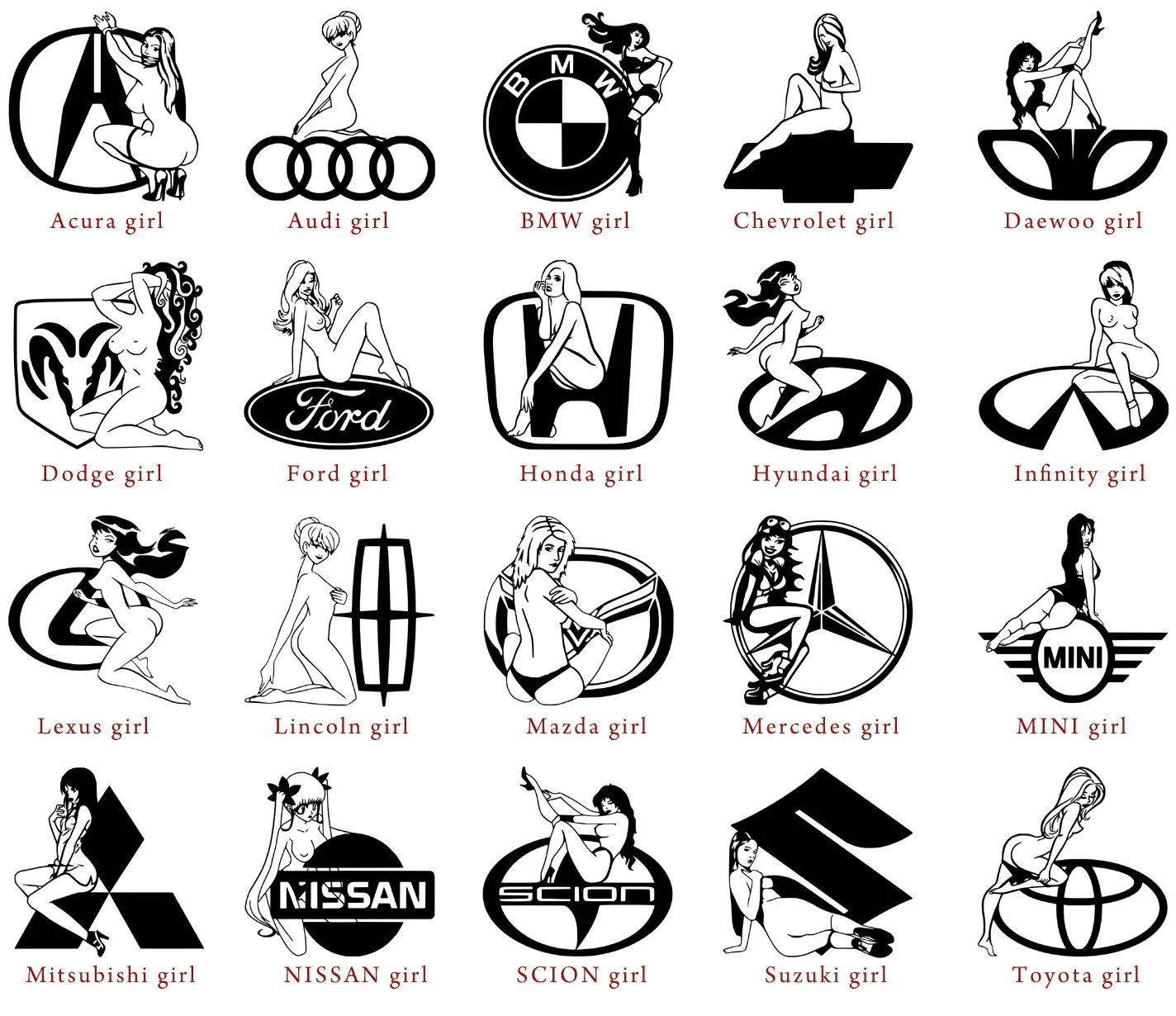 Vinyl Decals Acura Audi Bmw Chevrolet Daewoo Dodge Ford Honda
