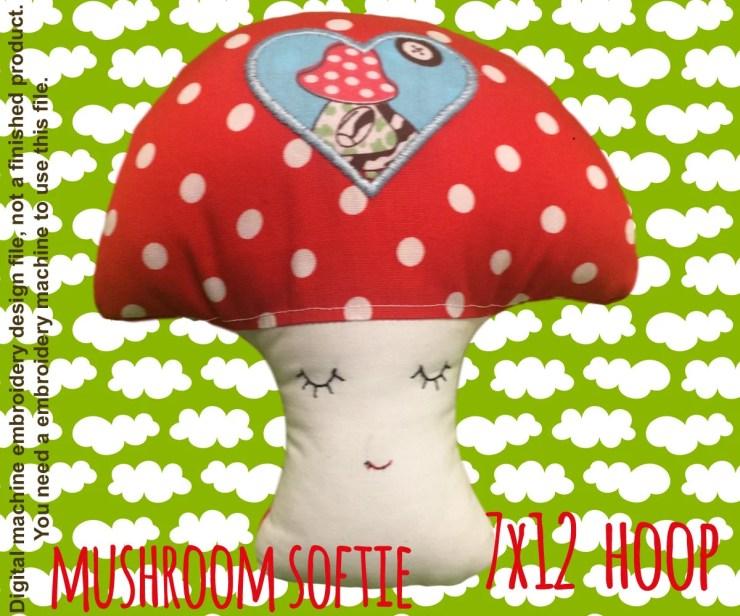 Mushroom softie - 7x12 hoop - ITH - In The Hoop - Machine Embroidery Design File, digital download