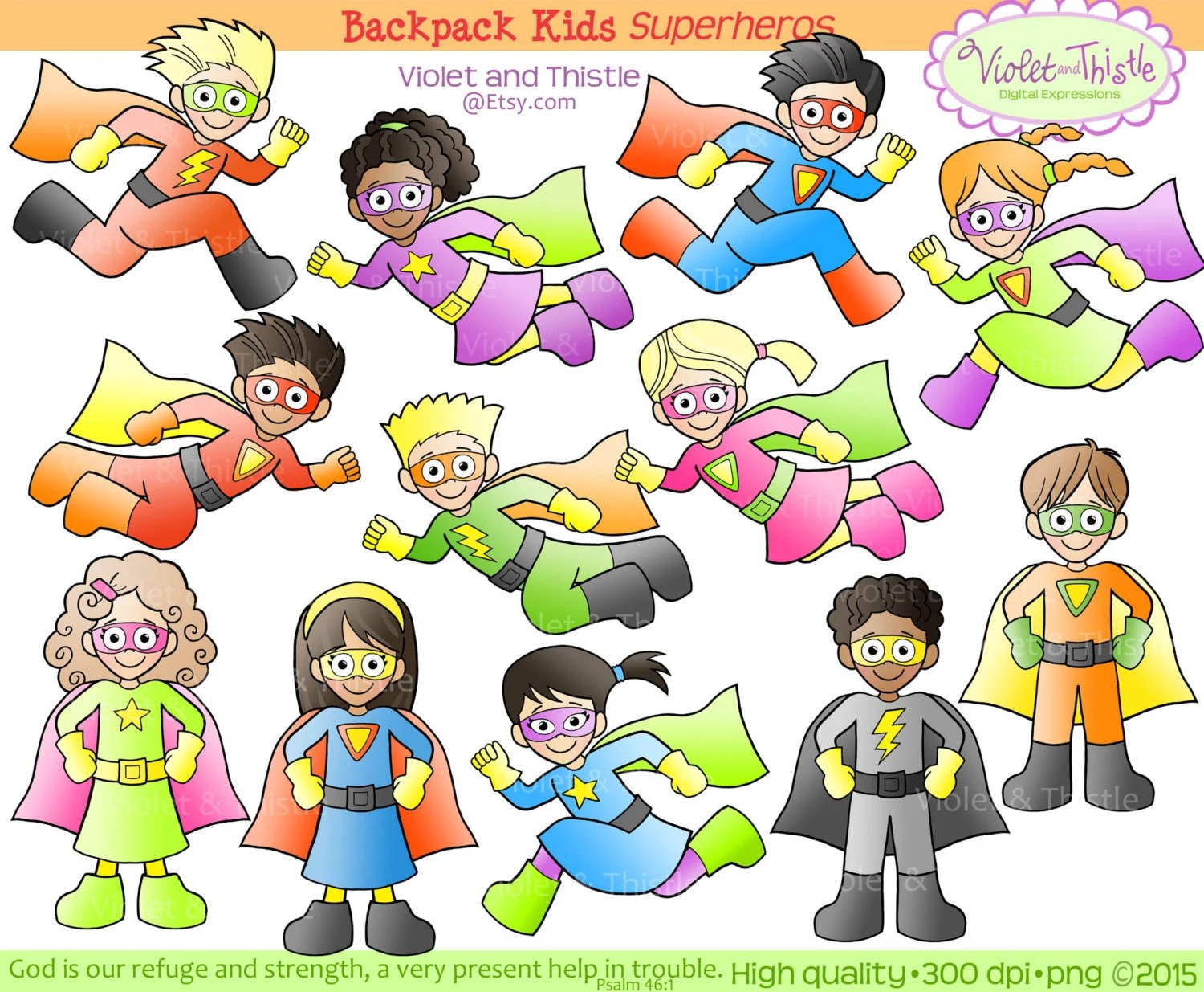 Superhero Kids Clipart Clip Art Super Hero Kids Flying Running