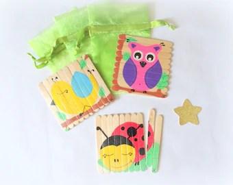 Puzzles enfant en bois, lot de 3 puzzles peints à la main, Puzzle coccinelle, puzzle hibou, puzzle oiseau, jeu bois enfant, puzzle animaux