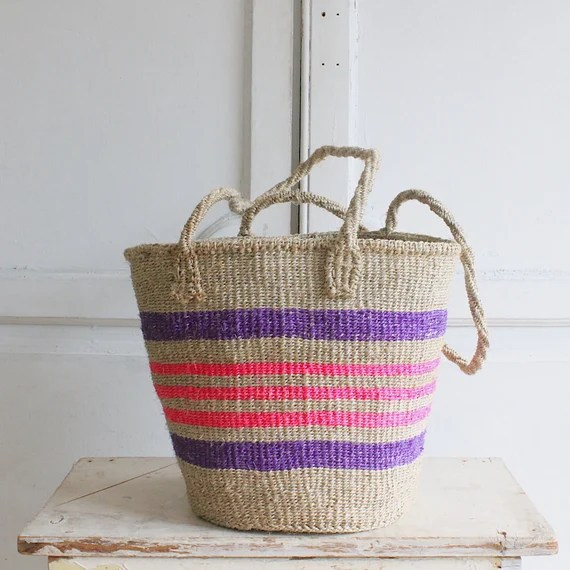 vintage beach tote ethically made beach basket tote