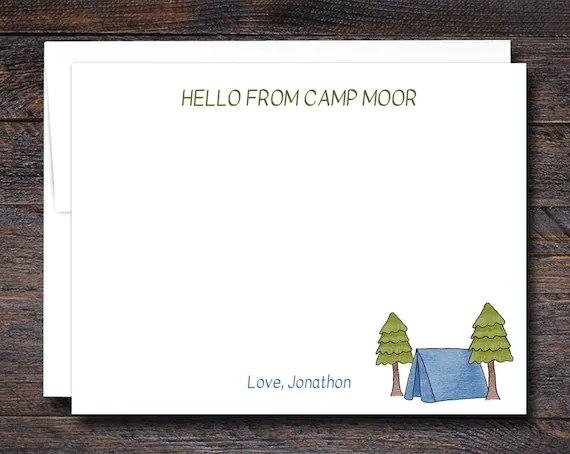 Custom Camp Flat Note Cards - BLUE