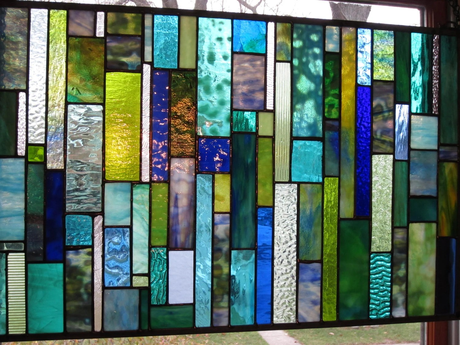 Stained Glass Sea Glass In Blues And Greens Window Panel