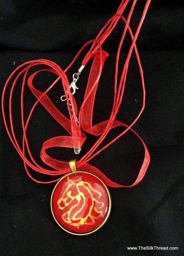 Horse Necklace, Beautiful Red and gold equine silk jewelry, Hand painted silk art by artist, round pendant, 38mm,  free organza gift bag,