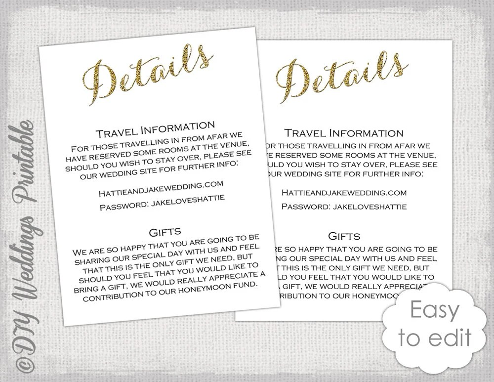 Wedding Invite Information Sheet Example | Invitationjdi.co