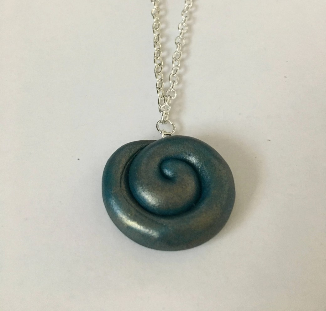 Blue Spiral Necklace with...