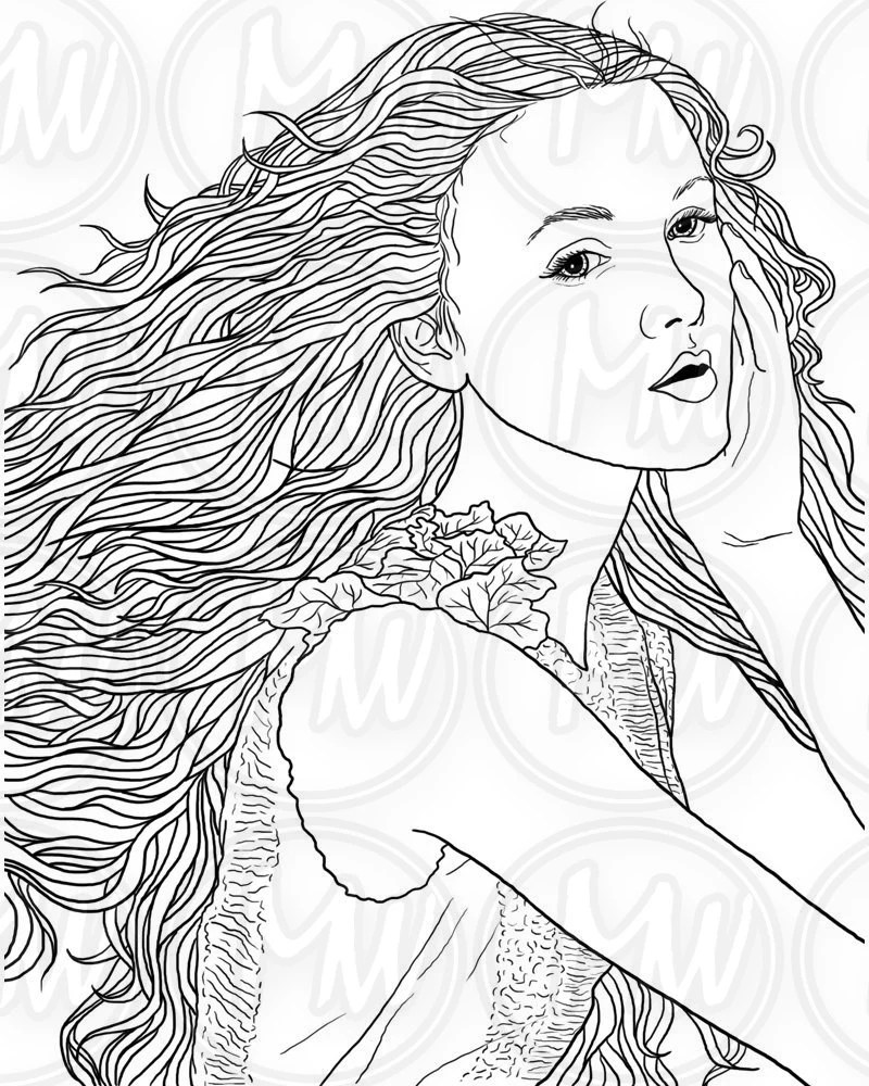 Adult Coloring Page Woman Face Long Hair Illustration