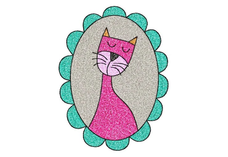 5x7 hoop CAT in frame Machine Embroidery Design File, digital download