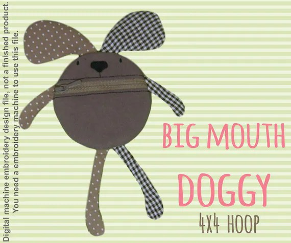 Funny pouch animal - DOGGY - 4x4 hoop - ITH - In The Hoop - Machine Embroidery Design File, digital download