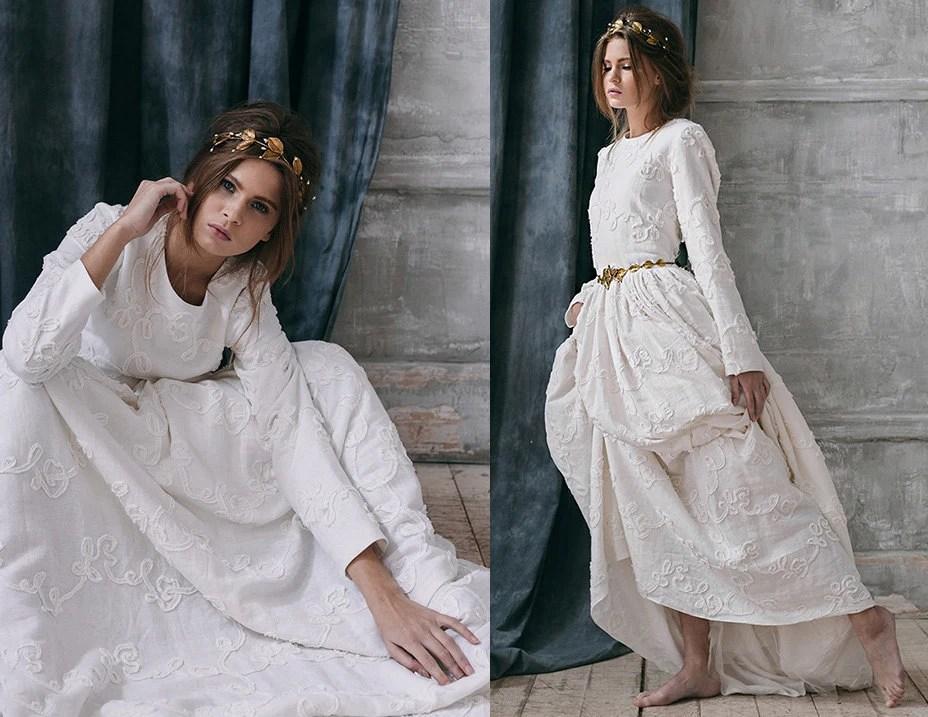 Rabia / Rustic Wedding Dress-long Sleeve Wedding Dress With
